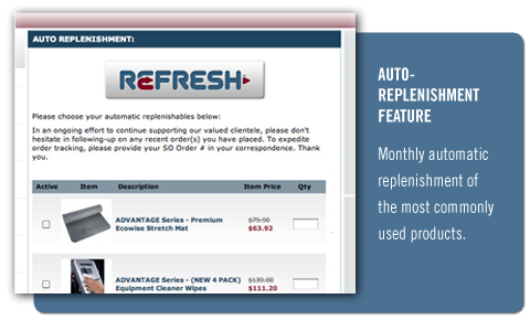 Monthly automatic replenishment of the most commonly used products.